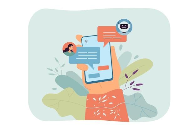 Mujer charlando con ilustración plana de bot de chat en línea