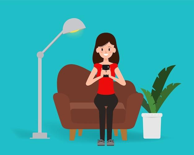 Mujer chateando en la red social móvil de estilo de vida.