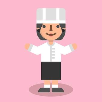 Mujer chef plana