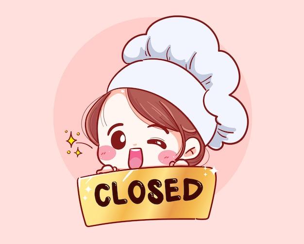 La mujer chef tiene un cartel cerca en la parte delantera de la tienda dibujado a mano ilustración.