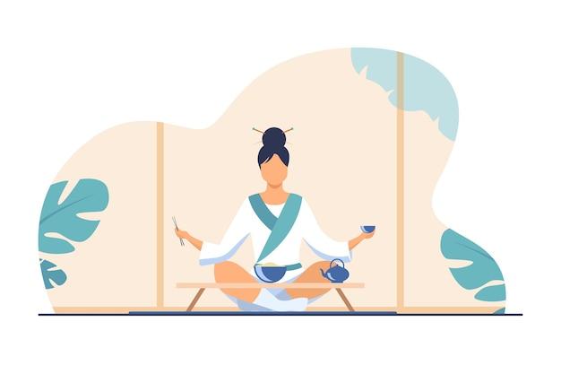 Mujer china sentada en una mesa pequeña y comiendo. té, arroz, palillos planos ilustración vectorial. concepto de tradición y nación
