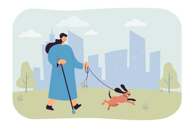 Mujer ciega de dibujos animados a pie con perro guía en el parque