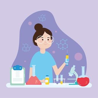 Mujer científica de dibujos animados con matraces químicos