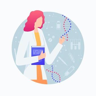 Mujer científico con moléculas de adn