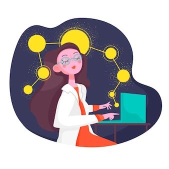 Mujer científico trabajando en la computadora portátil