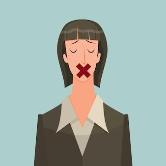 Mujer con cinta adhesiva sobre la boca.