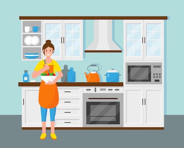 La mujer en la cocina está cocinando ensalada. ama de casa en casa. ilustración.