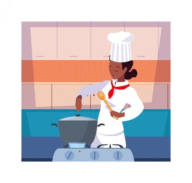 Mujer cocinando, chef en uniforme blanco