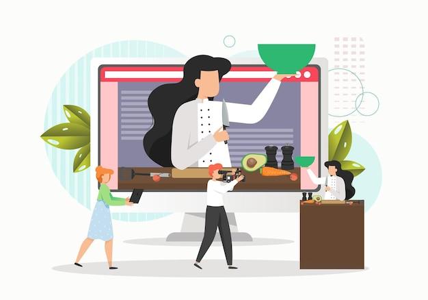Mujer cocinando comida en estudio y camarógrafo grabando video