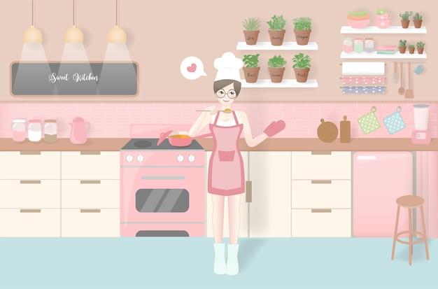 Mujer cocinando en un estilo de cocina vintage