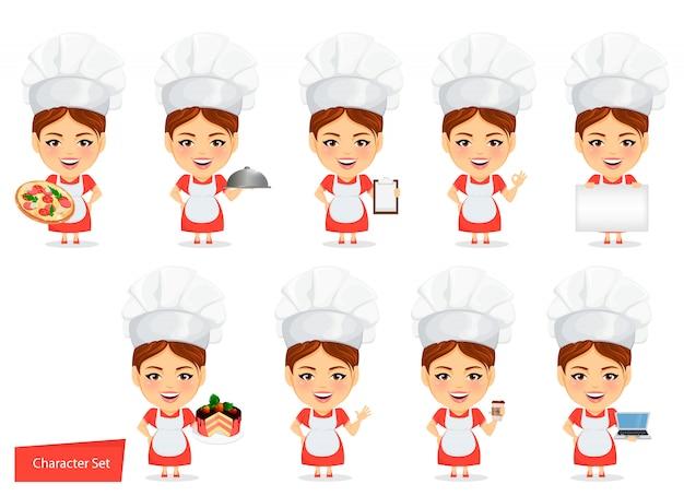 Mujer cocinera cocinero divertido con cabeza grande.