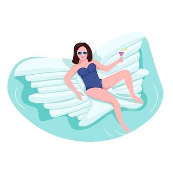 Mujer en colchón de aire color sin rostro de carácter. turista en fiesta en la piscina. persona en traje de baño con margarita. chica en la ilustración de dibujos animados de juguete de mariposa inflable