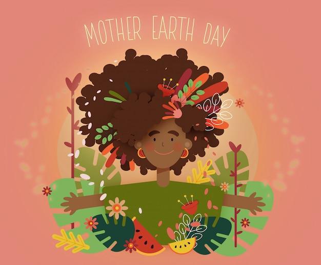 Mujer con coloridas hojas y flores.