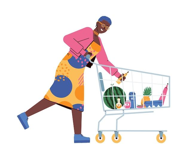 Mujer con comida en un carrito de supermercado en un supermercado una ilustración