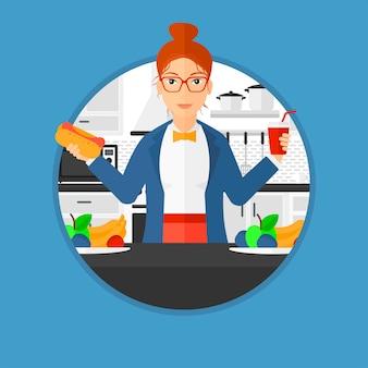 Mujer comiendo comida rápida.