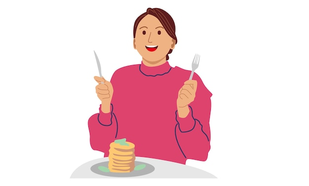 Mujer comiendo panqueques para el desayuno