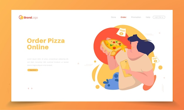 Una mujer comiendo pizza y dando una reseña en la página de destino.
