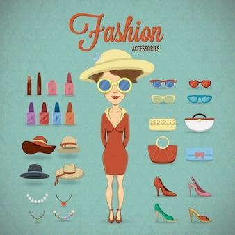 Mujer con complementos de ropa