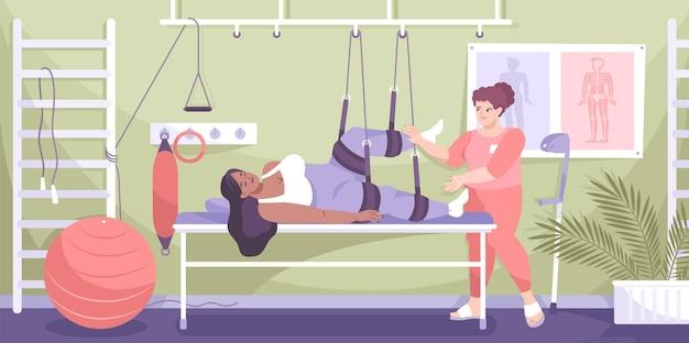 La mujer de composición de rehabilitación de trauma de color plano está en fisioterapia con lesión en la pierna