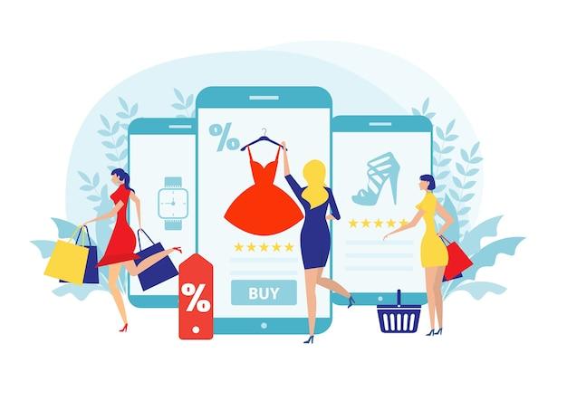 Mujer compra cosas en la tienda online. compras en redes sociales a través del estilo de diseño plano de teléfono.
