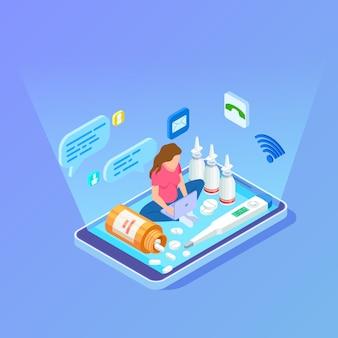 Mujer compra medicamentos, drogas con laptop. concepto isométrico de farmacia en línea