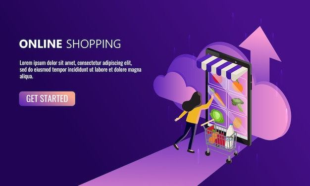 Mujer compra online desde su smartphone. concepto de compra de comestibles fácil. nuevo estilo de vida normal en la era de la pandemia del virus corona. mantente a salvo en casa.