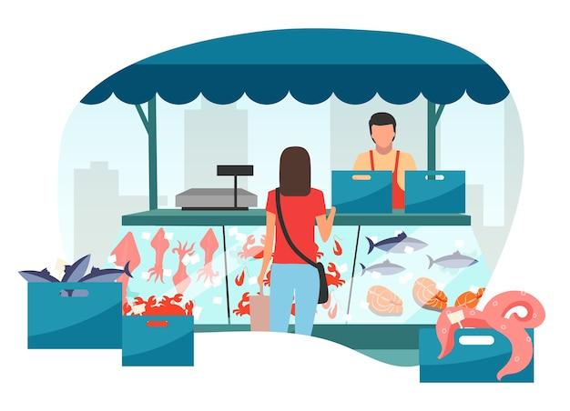 Mujer comprando mariscos en el mercado callejero puesto ilustración plana. mariscos frescos en carpa comercial de hielo, mostrador de pescado. stand de feria, mercado de verano. cliente en el personaje de dibujos animados de la tienda al aire libre del mercado de pescado local