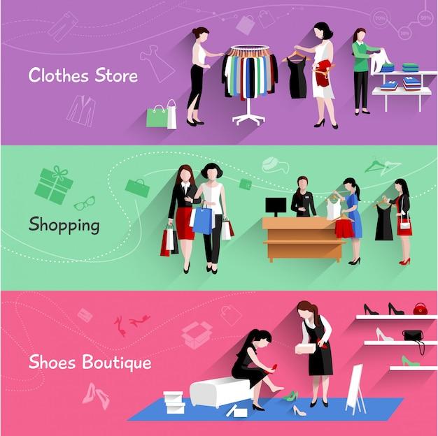 Mujer compras banner horizontal conjunto con elementos de tienda de ropa y zapatos