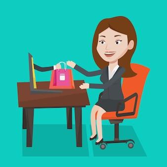 Mujer de compras en línea ilustración vectorial.