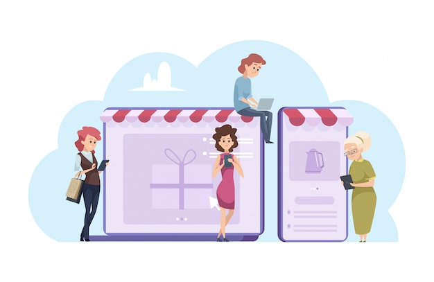 Mujer de compras en línea. mujeres de dibujos animados con computadora portátil, teléfonos inteligentes y tiendas en línea