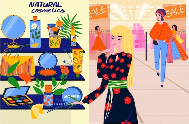 Mujer de compras en la tienda de cosméticos naturales, personajes de dibujos animados de personas en salón de belleza, ilustración