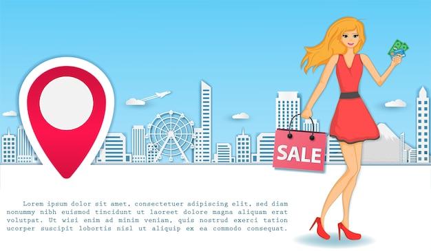 Mujer de compras en todo el mundo concepto