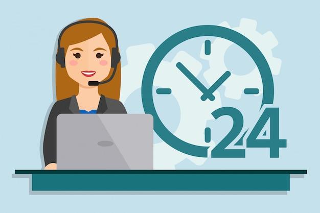 Mujer, con, computadora, llevando, auriculares