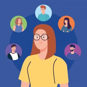 Mujer y comunidad de redes sociales, interactiva, comunicación y concepto global.