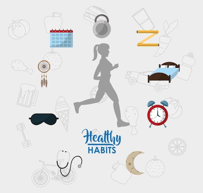 Mujer con concepto de estilo de vida de hábitos saludables
