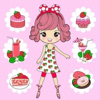 Mujer con fresa