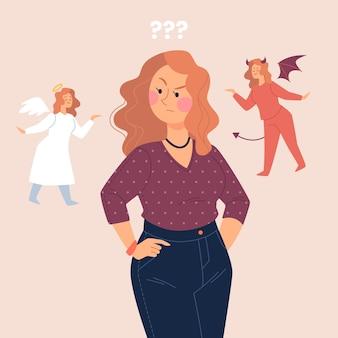 Mujer de concepto de dilema ético con ángel y diablo sobre sus hombros