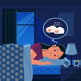 Mujer de concepto de insomnio contando ovejas