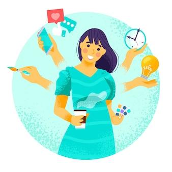 Mujer en concepto de multitarea
