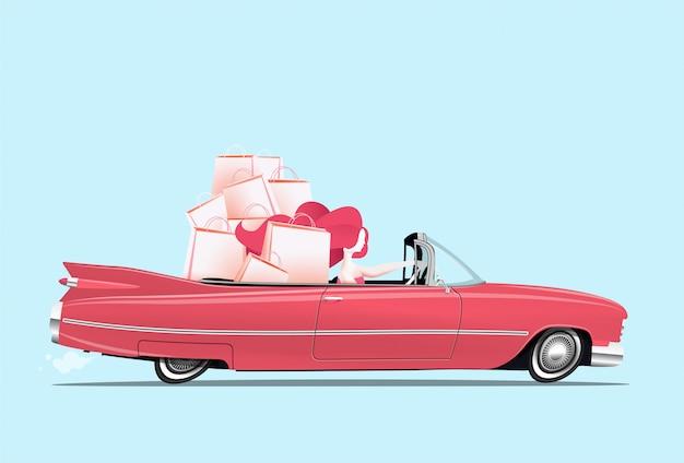Mujer conduciendo un auto descapotable rojo con bolsas de compras en los asientos traseros ilustración