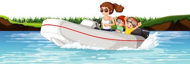 Una mujer conduciendo una lancha rápida con niños en el río.