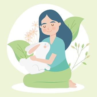 Mujer, con, conejo, illlustration