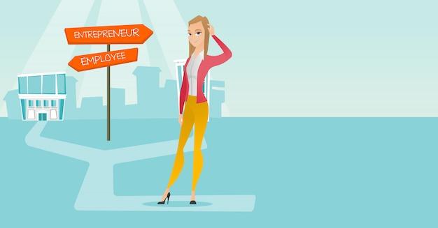 Mujer confundida elegir camino de carrera.