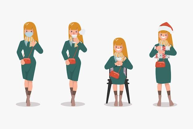Mujer en conjunto de caracteres de ropa de invierno.
