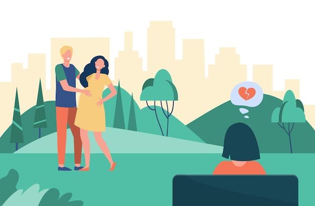 Mujer con el corazón roto mirando a la familia feliz. embarazo, pareja, maternidad ilustración plana. ilustración de dibujos animados