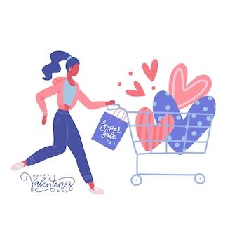 Mujer con corazones en carrito de compras de supermercado