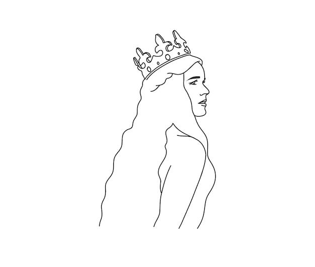 Mujer en corona de oro icono de arte de línea sagrada en estilo simple aislado sobre fondo blanco