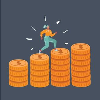 Mujer corre pila de monedas en la oscuridad