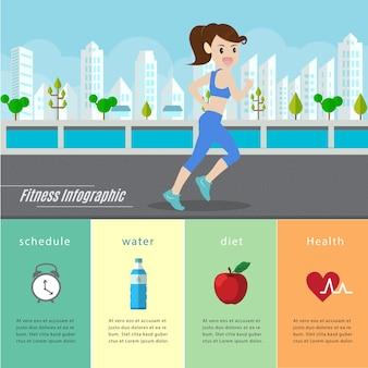 Mujer corriendo y corriendo infografía.