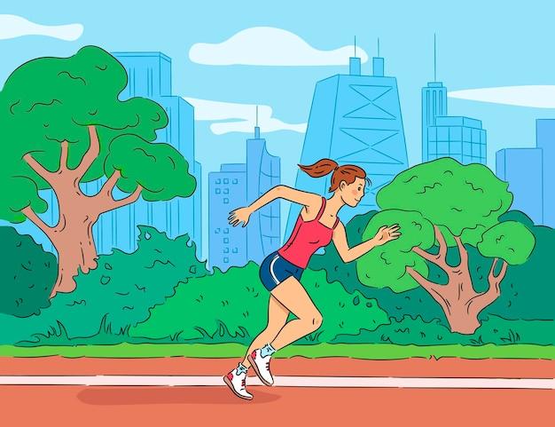 Mujer corriendo ilustración